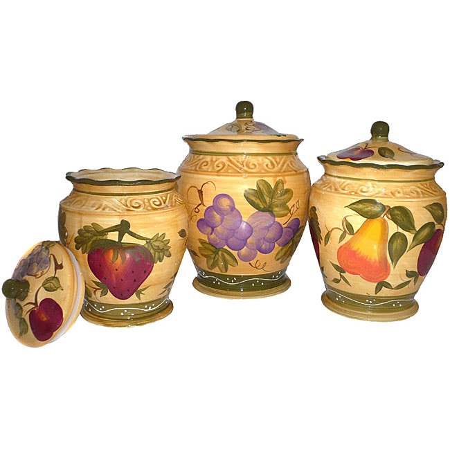 Tuscan Hand Painted Canister Set 10722640 Overstock