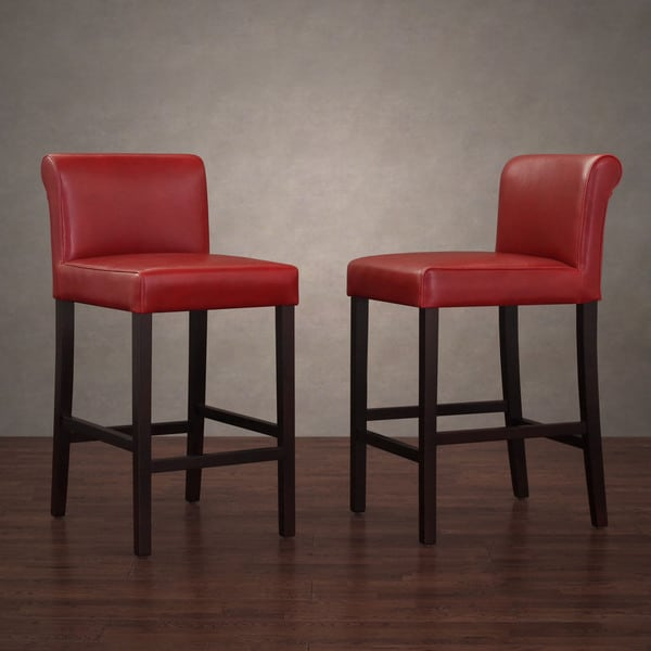 Cosmopolitan Burnt Red Leather Counter Stools (Set Of 2