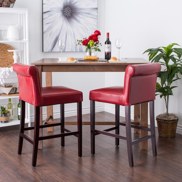 Cosmopolitan Burnt Red Leather Counter Stools Set Of 2