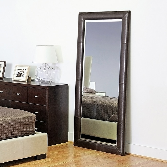 Dark Espresso Bi Cast Leather Floor Mirror