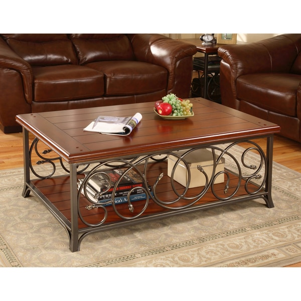 scrolled metal and wood coffee table. Black Bedroom Furniture Sets. Home Design Ideas