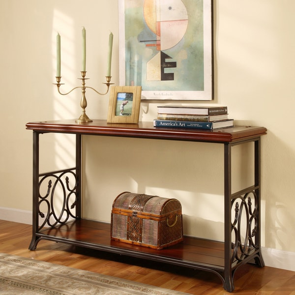 Scrolled Metal And Wood Sofa Table 10751188 Overstock