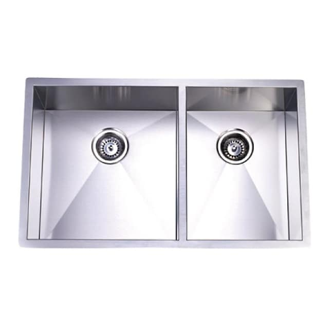 Towne square stainless steel undermount double kitchen - Square stainless steel bathroom sink ...