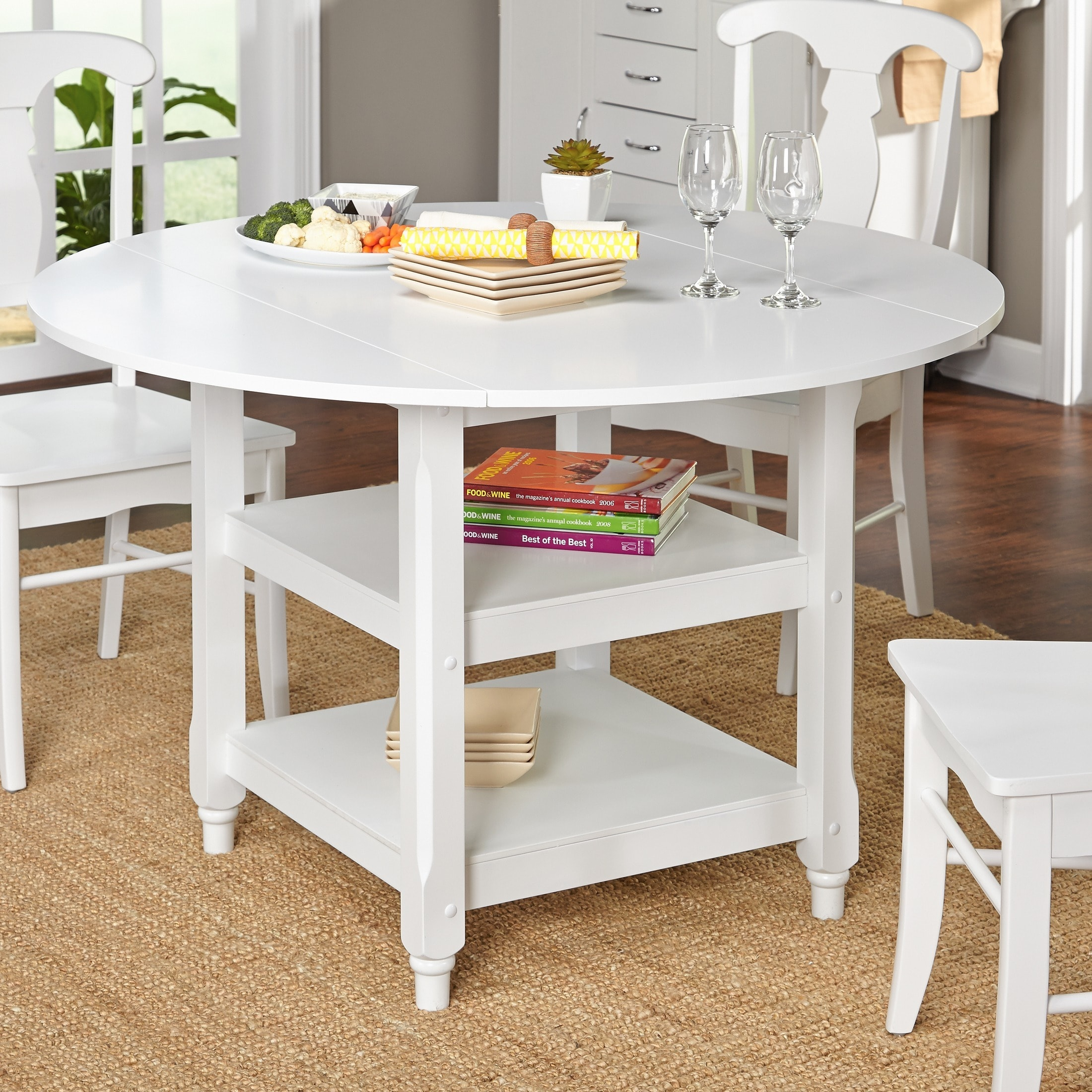 Living Room Dining Table: Simple Living Cottage White Round Dining Table