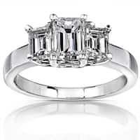 Annello 14k White Gold 1 3/4ct TDW Emerald-cut Diamond Ring ( H-I, SI )