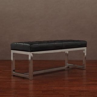 Liberty Black Leather Bench Overstock Shopping Great