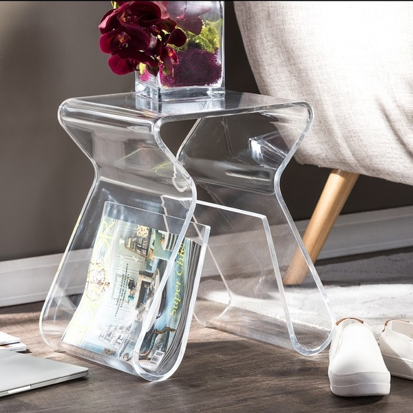 Alec Acrylic Stool End Table 11095928 Overstock Com