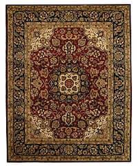Safavieh Handmade Classic Kerman Burgundy/ Navy Wool Rug - 7'6 x 9'6