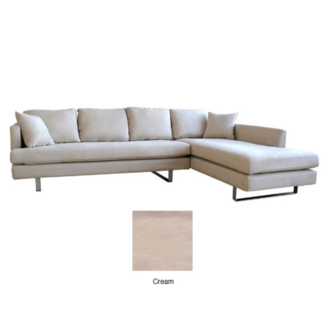 Beatrice Cream Microfiber Sofa With Chaise Set 11109660