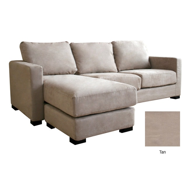 Chyna Tan Microfiber Sofa With Convertible Ottoman Chaise