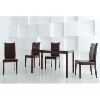 Crystal 5 Piece Wood And Leather Dining Furniture Set