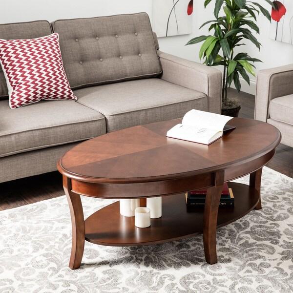 Gracewood Hollow Oval Walnut Coffee Table
