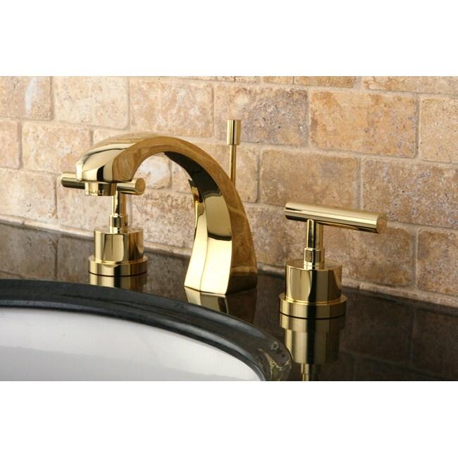 Concord widespread polished brass bathroom faucet - Brass bathroom faucets widespread ...