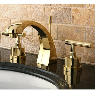 Concord Double Handle Widespread Polished Brass Bathroom Faucet