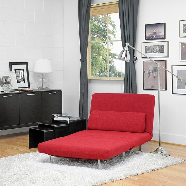 Anise Red Convertible Chair Bed 11146317 Overstock
