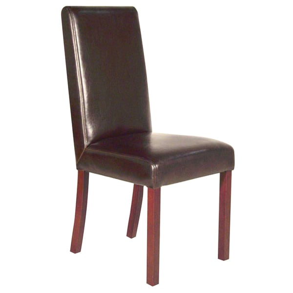 A Glass And Gold Bar Cart Brown Leather Armchair And: Monaco Dark Brown Leather Dining Chair