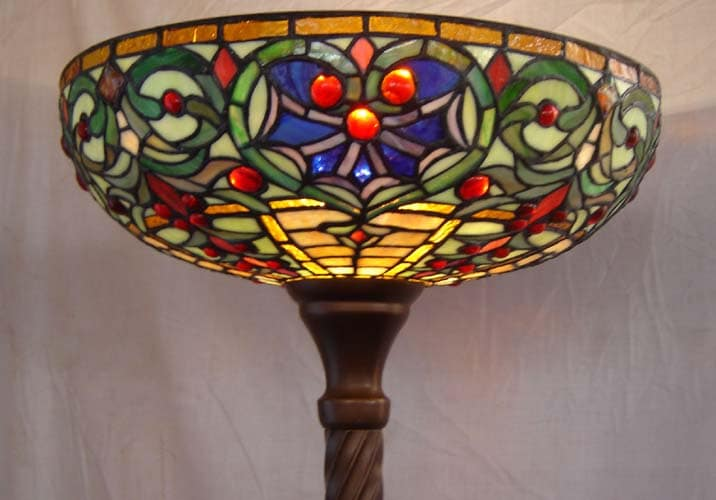 Tiffany Style Stained Glass Torchiere Floor Lamp