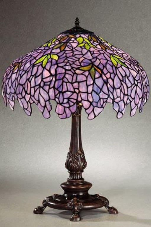 Tiffany Style Wisteria Stained Glass Table Lamp 11150572