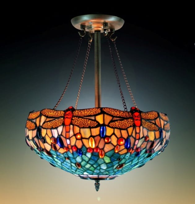 Tiffany Style Stained Glass Dragonfly Chandelier Hanging