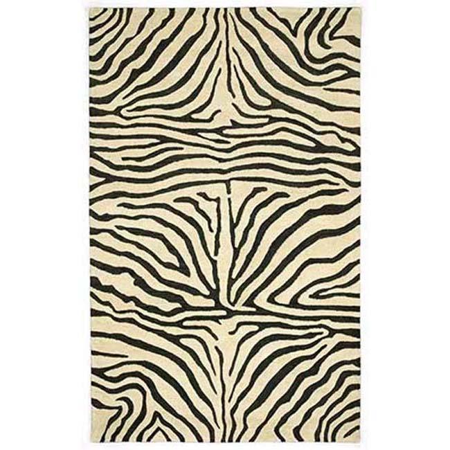 Hand Tufted Zebra Wool Rug 8 X 10 6 Overstock