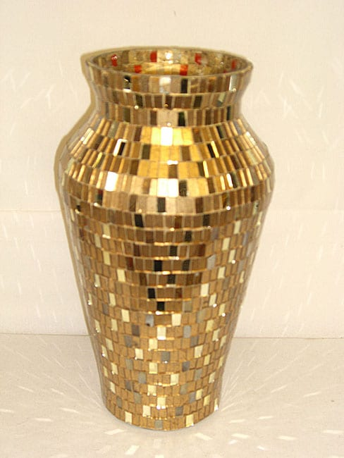 Round Gold And Mirror Mosaic Vase Set Of 6 11172278 Overstock Com Shopping Great Deals