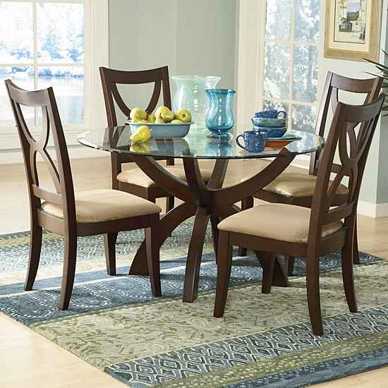 Dinet Set: Avalon 5-piece Round Glass Dining Set