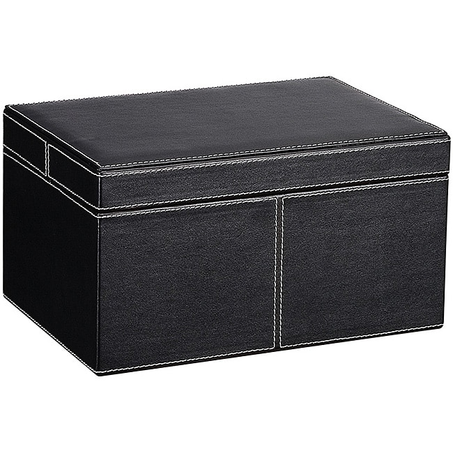 Ebony Faux Leather Small Storage Box With Lid 11271830