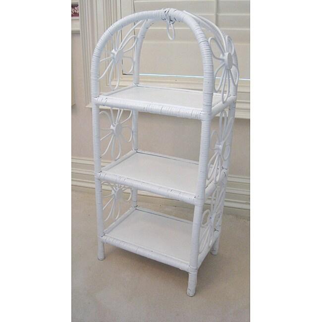 Wicker Wall Shelf Bathroom: White Wicker Small 3-tier Shelf