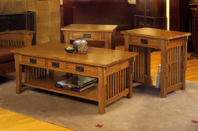Mission Solid Oak 3 Piece Coffee And End Table Set