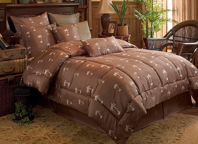 Palm Tree Quilt Sets: Palm Tree Embroided 4-piece Comforter Set