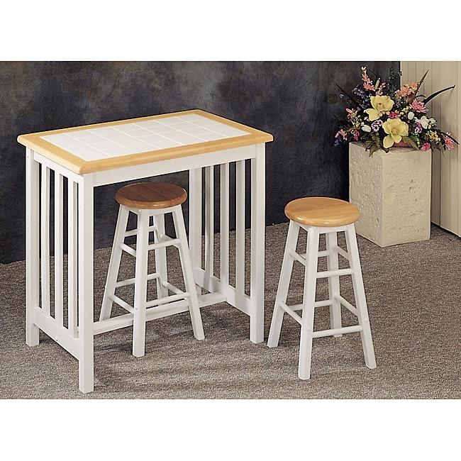 White Tile Top Wood Breakfast Bar Set