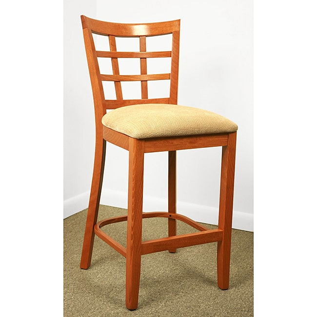 Cherry Lattice Back Microfiber Seat Counter Stool
