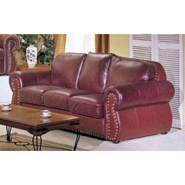 San Joaquin Burgundy Leather Sofa 11485946 Overstock