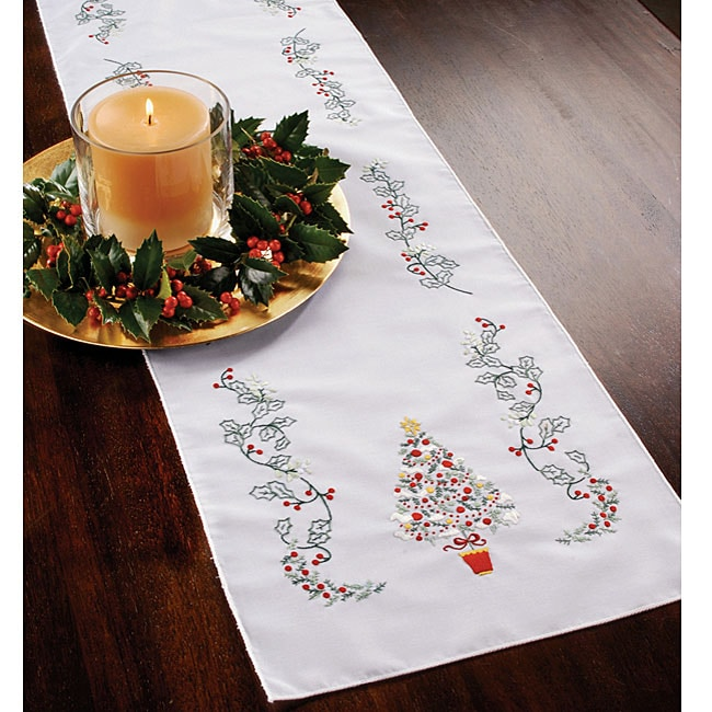 Christmas Holly Stamped Embroidery Table Runner 11492199