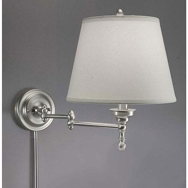 Aztec Lighting Swing Arm White Shade Plug In Lamp