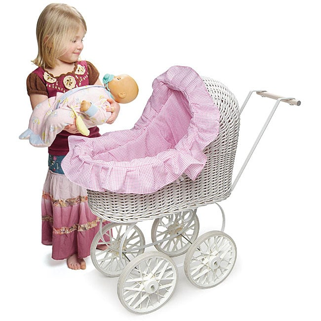 Classic Wicker Doll Carriage With Pink Gingham Liner
