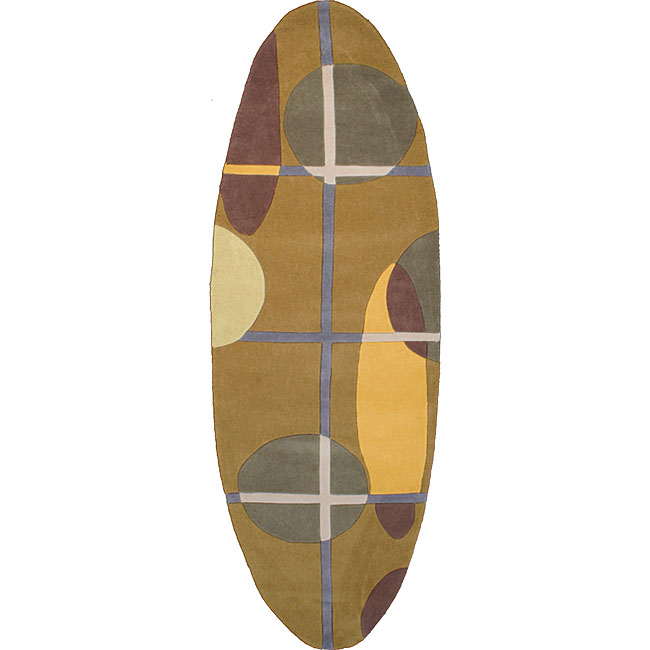 Hand-tufted Oval Runner Surfboard Rug (2'6 X 8