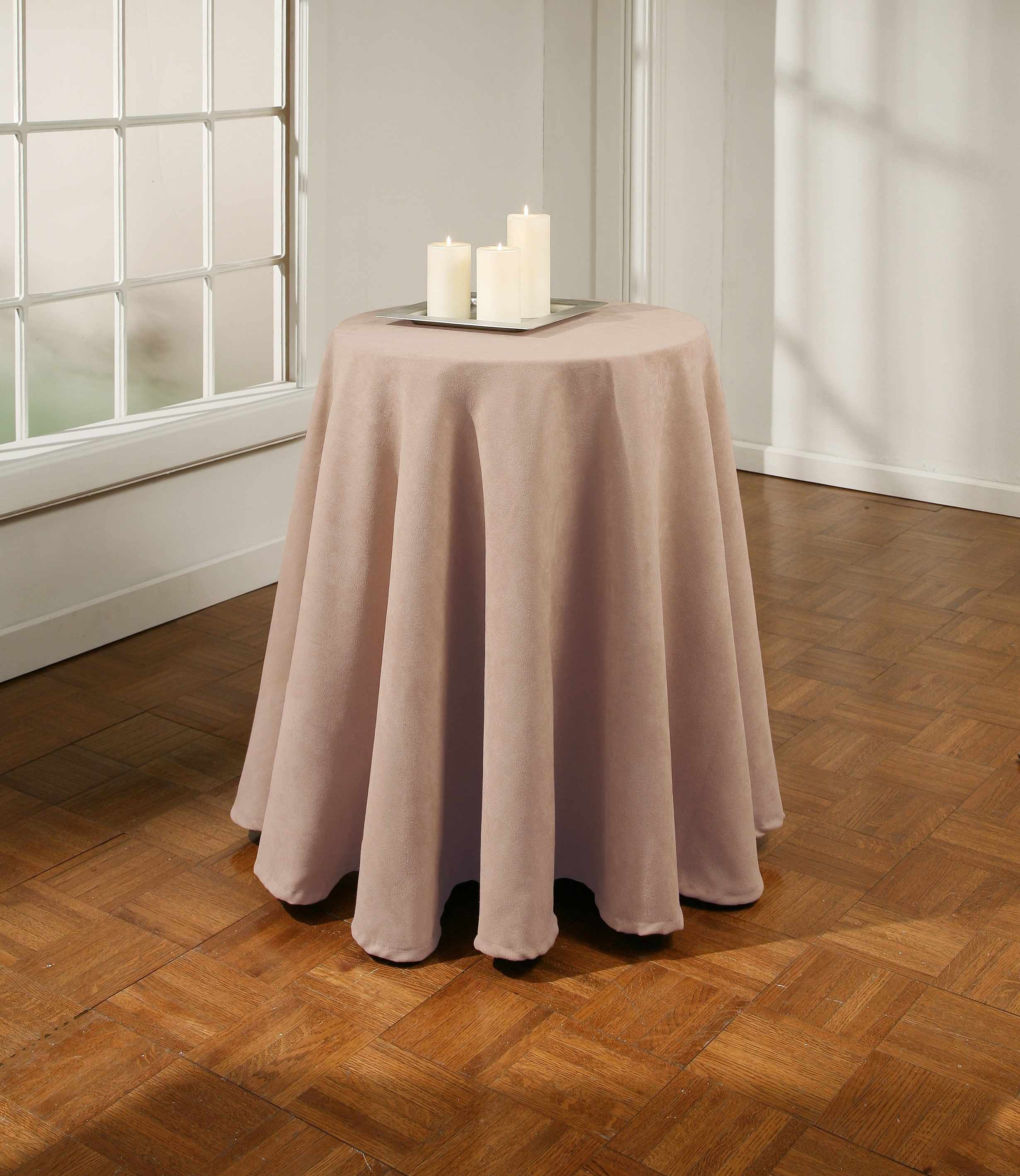 Suede 70 Inch Round Tablecloth 10776906 Overstock Com