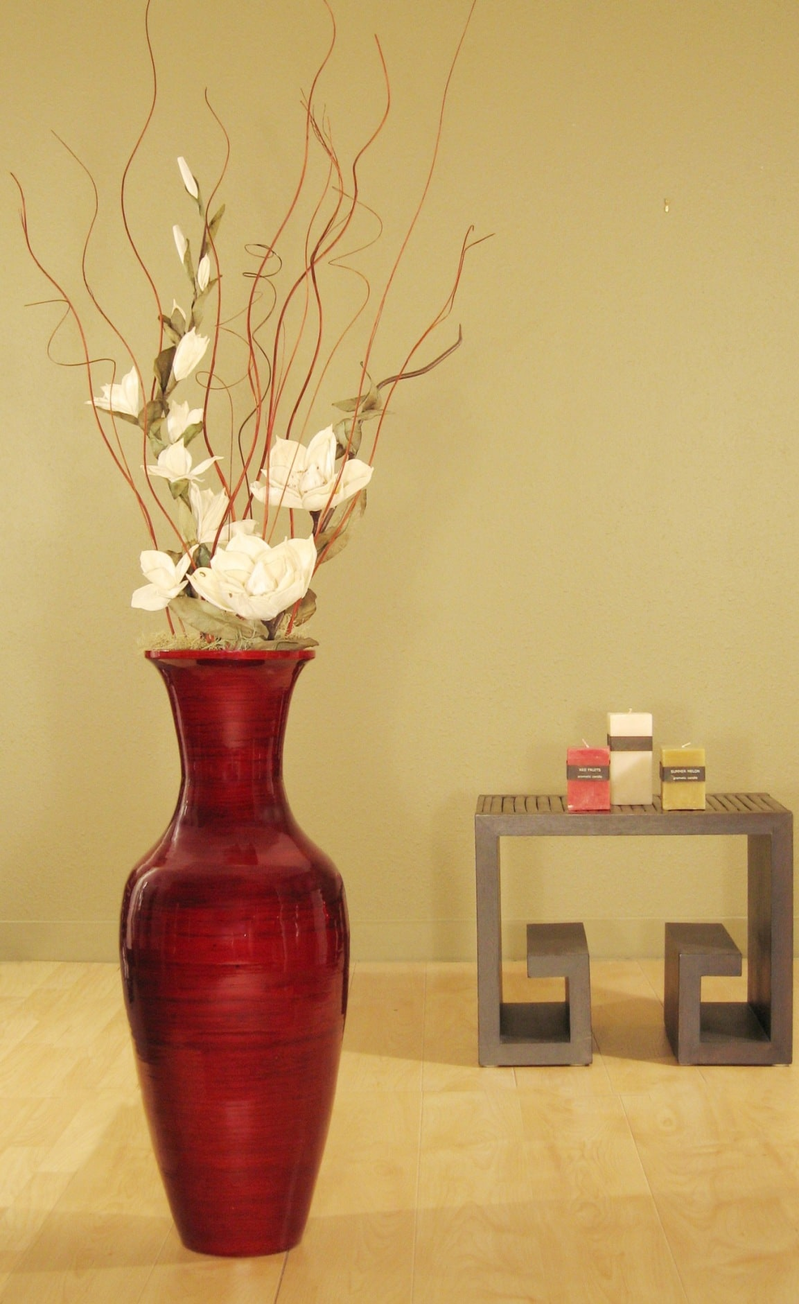 Bamboo Floor Vase And White Magnolias 11052380 Overstock Com Shopping Great Deals On Vases
