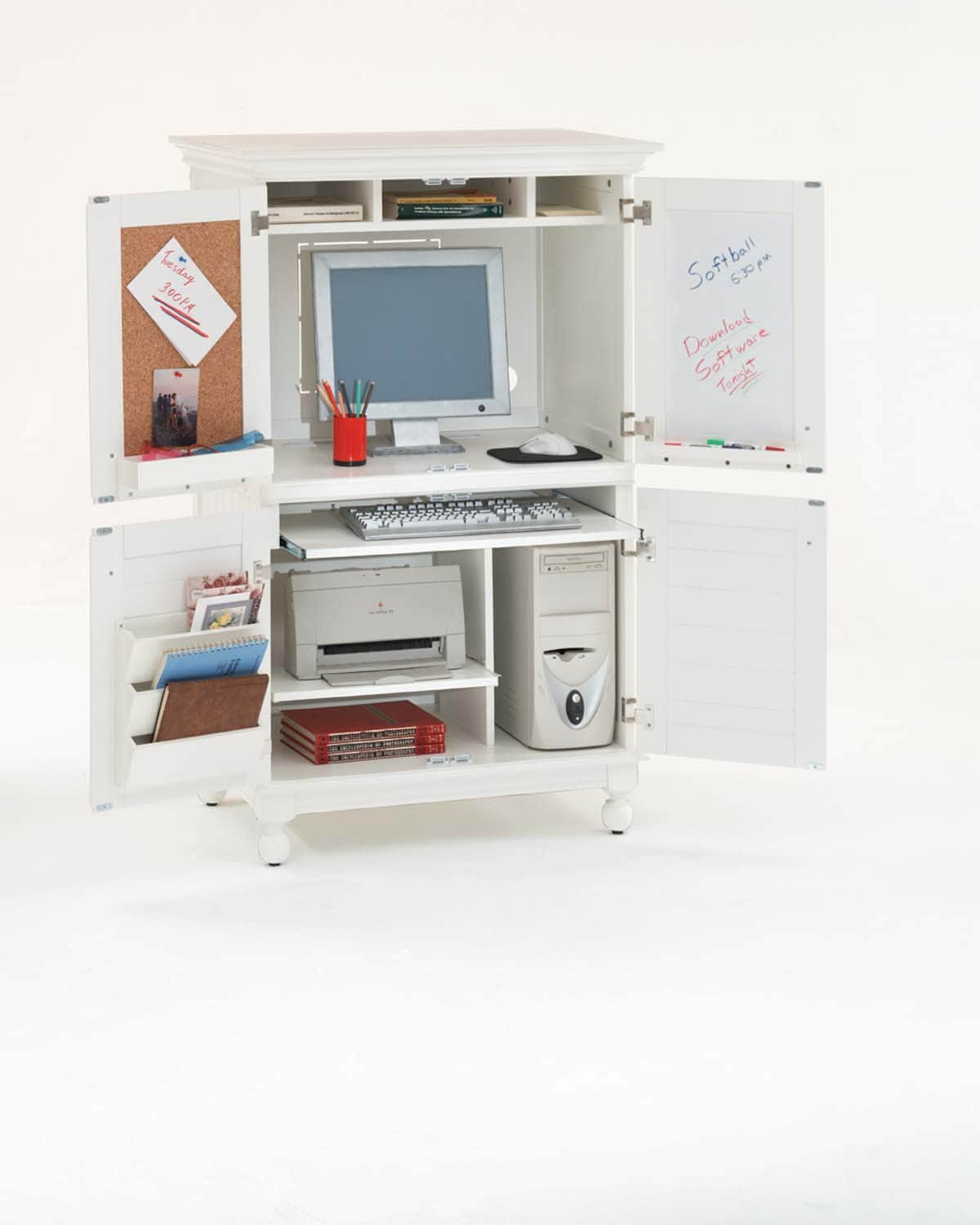 Computer Armoire with Distressed White Finish - 11062995 ...