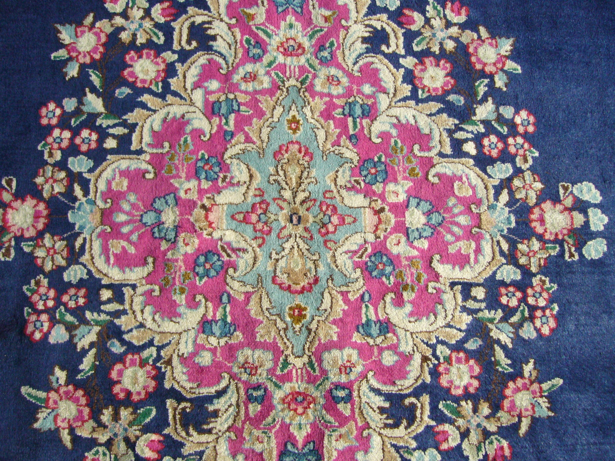 Persian Kirman Hand Knotted Navy Pink Rug 9 X 12