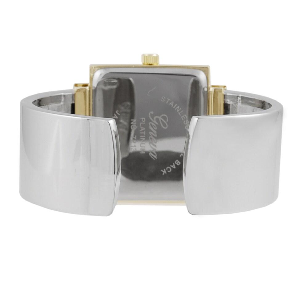Geneva Platinum Women S Silver Cuff Watch Overstock