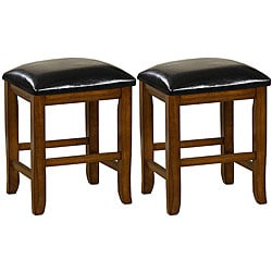 Mission Style 18 Inch Oak Dining Stools Set Of 2