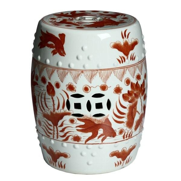 Handmade Red White Porcelain Garden Stool China