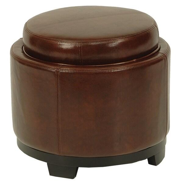 Ottomans Brussels Brown Bonded Leather Storage Chest: Safavieh Round Brown Cordovan Ottoman With Storage Tray
