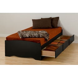Black Twin Xl Mate S Platform Storage Bed With 3 Drawers