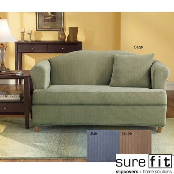 Sofa Slipcover With Separate Cushion Covers: Stretch Stripe 2-piece T-cushion Sofa Slipcover