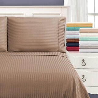 Superior 650 Thread Count Stripe Cotton Sateen Pillowcases (Set of 2)