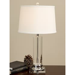 Crystal Column Chrome Finished Table Lamp