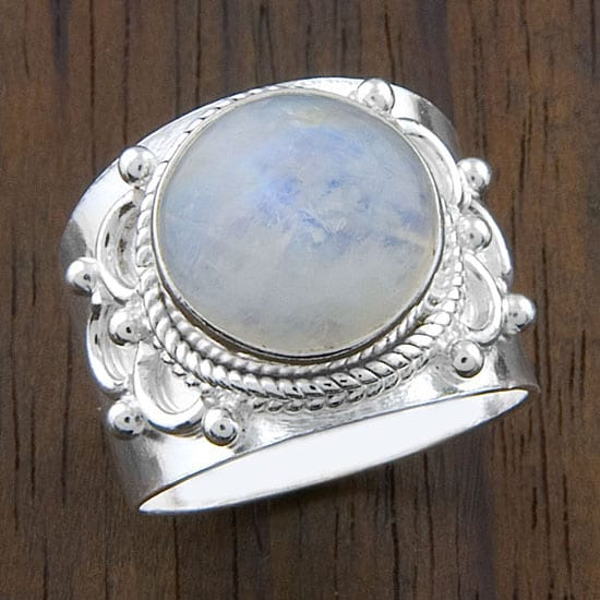 Sterling Silver 'Crafted Edge' Moonstone Ring (India ...
